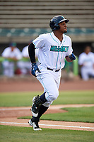 Lynchburg Hillcats designated hitter Emmanuel Tapia (28) runs to first base during the first game of a doubleheader against the Potomac Nationals on June 9, 2018 at Calvin Falwell Field in Lynchburg, Virginia.  Lynchburg defeated Potomac 5-3.  (Mike Janes/Four Seam Images)