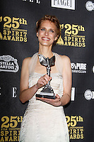 US actress Lynn Shelton poses with her award in the press room at the 25th Independent Spirit Awards held at the Nokia Theater in Los Angeles on March 5, 2010. The Independent Spirit Awards is a celebration honoring films made by filmmakers who embody independence and originality..Photo by Nina Prommer/Milestone Photo