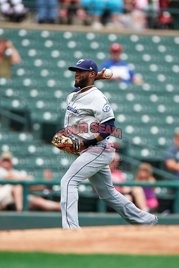 Columbus Clippers third baseman Giovanny Urshela (23) throws home during a game against the Rochester Red Wings on June 16, 2016 at Frontier Field in Rochester, New York.  Rochester defeated Columbus 6-2.  (Mike Janes/Four Seam Images)