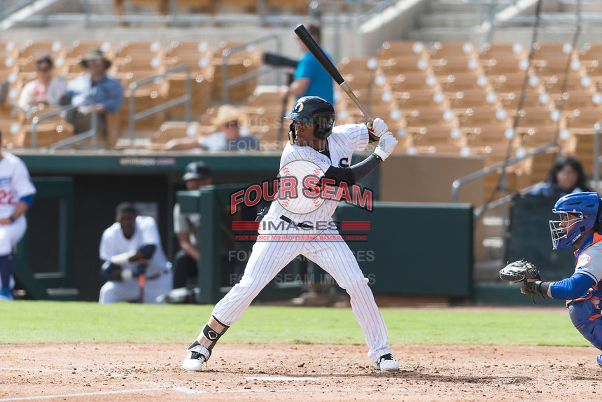 Glendale Desert Dogs center fielder Luis Alexander Basabe (15), of the Chicago White Sox organization, at bat during an Arizona Fall League game against the Scottsdale Scorpions at Camelback Ranch on October 16, 2018 in Glendale, Arizona. Scottsdale defeated Glendale 6-1. (Zachary Lucy/Four Seam Images)