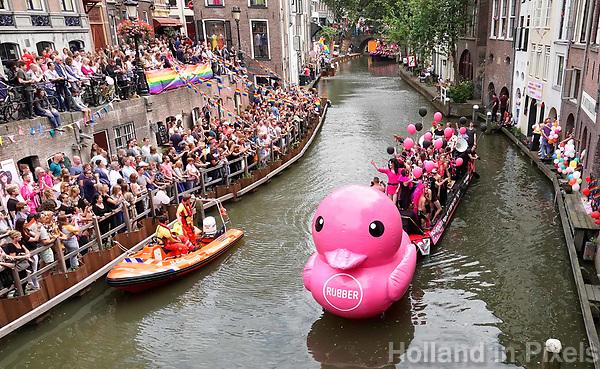 Nederland  Utrecht - 2018. Voor het tweede jaar vaart de Utrecht Canal Pride door de binnenstad. Rubber duck.  Foto mag niet in negatieve / schadelijke context gepubliceerd worden.   Foto Berlinda van Dam / Hollandse Hoogte.