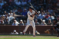SAN FRANCISCO, CA - SEPTEMBER 12:  Mike Yastrzemski #5 of the San Francisco Giants bats against the Pittsburgh Pirates during the game at Oracle Park on Thursday, September 12, 2019 in San Francisco, California. (Photo by Brad Mangin)