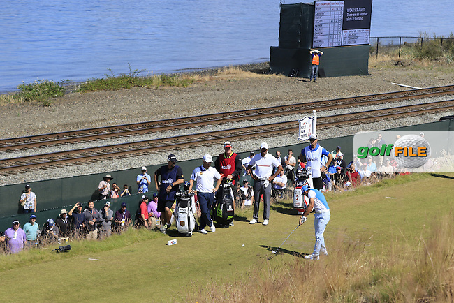 Rickie FOWLER (USA) tees off the 17th tee during Friday's Round 2 of the 2015 U.S. Open 115th National Championship held at Chambers Bay, Seattle, Washington, USA. 6/19/2015.<br /> Picture: Golffile   Eoin Clarke<br /> <br /> <br /> <br /> <br /> All photo usage must carry mandatory copyright credit (&copy; Golffile   Eoin Clarke)