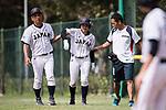 #22 Endo Kanako of Japan (C) gets injured during the BFA Women's Baseball Asian Cup match between Japan and India at Sai Tso Wan Recreation Ground on September 6, 2017 in Hong Kong. Photo by Marcio Rodrigo Machado / Power Sport Images