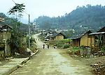 Bac Ha Town - Muddy street on a winters day in the small market town of Bac Ha, in the mountainous northwest of Viet Nam.