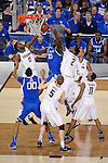 07 APR 2014: Phillip Nolan (0) and DeAndre Daniels (2) of the University of Connecticut go up for a rebound against Julius Randle (3) of the University of Kentucky during the 2014 NCAA Men's DI Basketball Final Four Championship at AT&T Stadium in Arlington, TX.  Connecticut defeated Kentucky 60-54 to win the national title. Brett Wilhelm/NCAA Photos