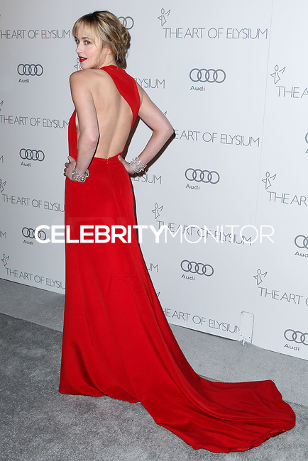 "[(FILE) Actress Dakota Johnson has been cast as the lead actress in ""Fifty Shades of Grey"" (2014 Film) to play character Anastasia Steele on September 2, 2013. Focus Features and Universal Pictures announced Monday, Sept. 2, 2013 that Dakota Johnson will play Anastasia Steele in the big-screen adaptation of E L James' ""Fifty Shades of Grey."" Johnson is the daughter of actors Don Johnson and Melanie Griffith.] LOS ANGELES, CA - JANUARY 12: Actress Dakota Johnson arrives at The Art of Elysium's Heaven Gala at 2nd Street Tunnel on January 12, 2013 in Los Angeles, California. (Photo by Xavier Collin/Celebrity Monitor)"