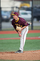 Iona Gaels starting pitcher Stephen Hansen (28) follows through on his delivery against the Rutgers Scarlet Knights at City Park on March 8, 2017 in New Rochelle, New York.  The Scarlet Knights defeated the Gaels 12-3.  (Brian Westerholt/Four Seam Images)