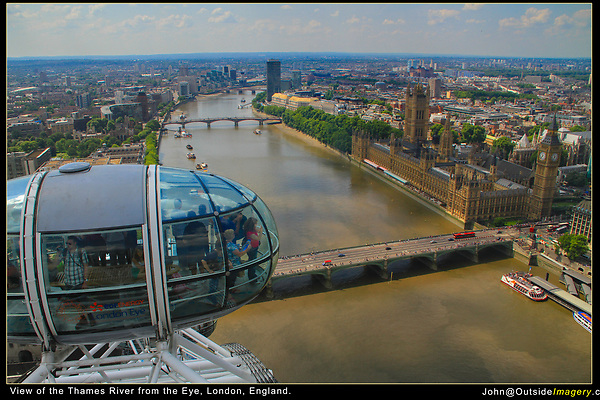 England, London. Thames from the London Eye.<br /> When tourists are in your image, make sure they look presentable. If people in your photo don't look reasonably good, maybe you took it at the wrong time.