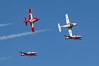 Snowbirds of the Royal Canadian Air Force in solo formation pass.