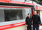 Kevin Liu with his girlfriend Wei Wang outside his Fast Food Restaurant, Eurostar in Clogherhead where they were viciously assaulted on Tuesday evening...Photo NEWSFILE/Jenny Matthews.(Photo credit should read Jenny Matthews/NEWSFILE)....This Picture has been sent you under the condtions enclosed by:.Newsfile Ltd..The Studio,.Millmount Abbey,.Drogheda,.Co Meath..Ireland..Tel: +353(0)41-9871240.Fax: +353(0)41-9871260.GSM: +353(0)86-2500958.email: pictures@newsfile.ie.www.newsfile.ie.FTP: 193.120.102.198.