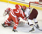 Kieran Millan (BU - 31), Max Nicastro (BU - 7), Jimmy Hayes (BC - 10) - The Boston College Eagles defeated the visiting Boston University Terriers 5-2 on Saturday, December 4, 2010, at Conte Forum in Chestnut Hill, Massachusetts.
