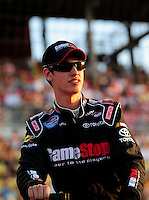 Aug 30, 2008; Fontana, CA, USA; NASCAR Nationwide Series driver Joey Logano during the Camping World 300 at Auto Club Speedway. Mandatory Credit: Mark J. Rebilas-
