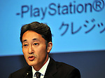 """May 1, 2011, Tokyo, Japan - Kazuo Hirai, Sony Entertainment President, explains a breach of security during a news conference at its headquarter in Tokyo on Sunday, May 1, 2011. Hirai, along with two other executives, apologized for the breach in the company PlayStation Network that caused the loss of personal data of some 77 million accounts on the online service. Sony has said it has contacted U.S. Federal Bureau of Investigation to look into what the company called """"a criminal cyber attack"""" on Sony's data center in San Diego, California. (Photo by Natsuki Sakai/AFLO) [3615] -mis-"""