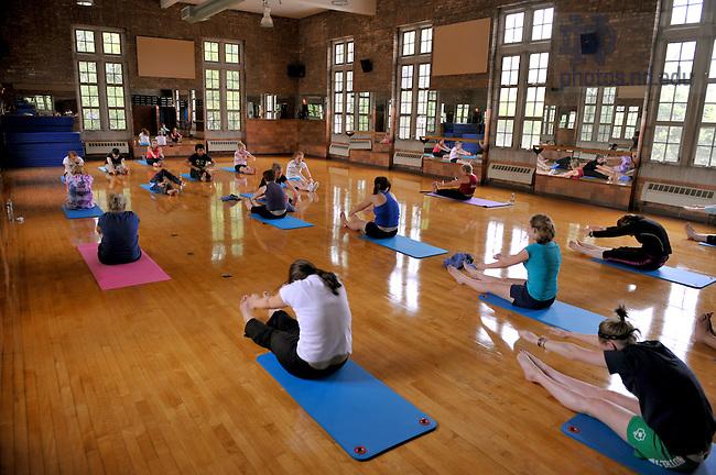 Pilates class at Rockne Memorial..Photo by Matt Cashore/University of Notre Dame