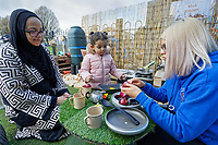 Pictured: A young girl is shown cooking utensils. Thursday 21 March 2019<br /> Re: Julie Morgan, AM, has met parents at Twinkle Star playgroup before new legislation is brought in by the Welsh Government to ban parents from smacking children, Cardiff, Wales, UK.