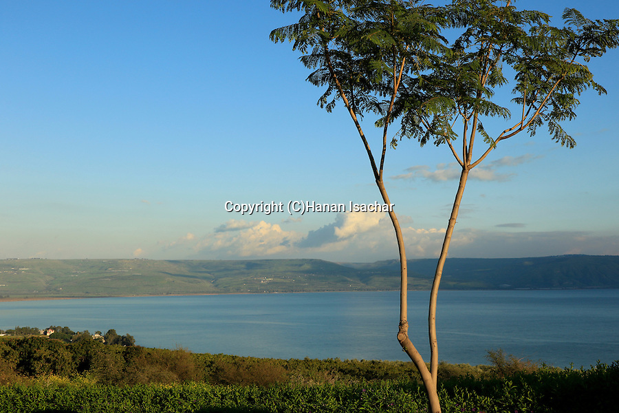 Israel, a view of the Sea of Galilee from the Mount of the Beatitudes