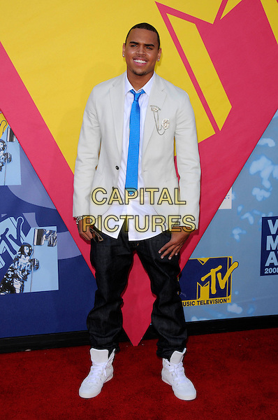 CHRIS BROWN.The 2008 MTV Video Music Awards held at Paramount Studios in Hollywood, California, USA..September 7th, 2008.full length jeans denim grey gray suit jacket sneakers trainers blue tie VMA Vmas.CAP/DVS.©Debbie VanStory/Capital Pictures.