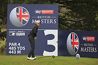 Joakim Lagergren (SWE) hurts his hand on the 3rd tee during Round 2 of the Sky Sports British Masters at Walton Heath Golf Club in Tadworth, Surrey, England on Friday 12th Oct 2018.<br /> Picture:  Thos Caffrey | Golffile<br /> <br /> All photo usage must carry mandatory copyright credit (&copy; Golffile | Thos Caffrey)