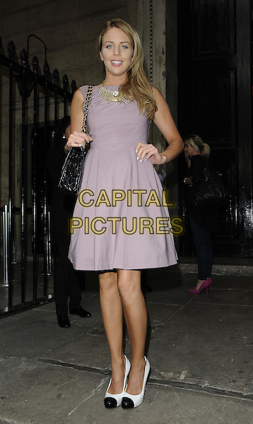 Lydia Rose Bright.attended the Natwest UK Fashion & Textile Awards 2013, One Mayfair, North Audley St., London, England, UK, 23rd May 2013..full length sleeveless grey gray purple lilac dress black chanel bag hand on hip two tone shoes .CAP/CAN.©Can Nguyen/Capital Pictures.