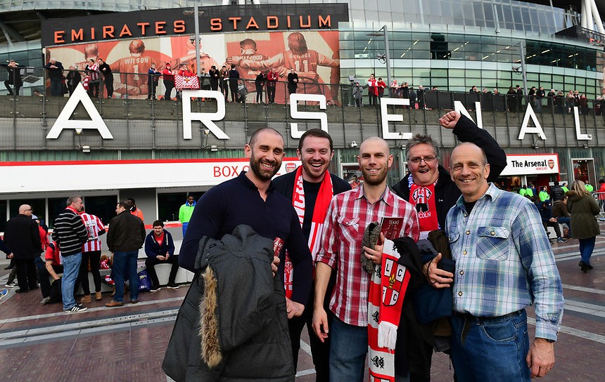 Lincoln City fans before kick off<br /> <br /> Photographer Chris Vaughan/CameraSport<br /> <br /> The Emirates FA Cup Quarter-Final - Arsenal v Lincoln City - Saturday 11th March 2017 - The Emirates - London<br />  <br /> World Copyright &copy; 2017 CameraSport. All rights reserved. 43 Linden Ave. Countesthorpe. Leicester. England. LE8 5PG - Tel: +44 (0) 116 277 4147 - admin@camerasport.com - www.camerasport.com