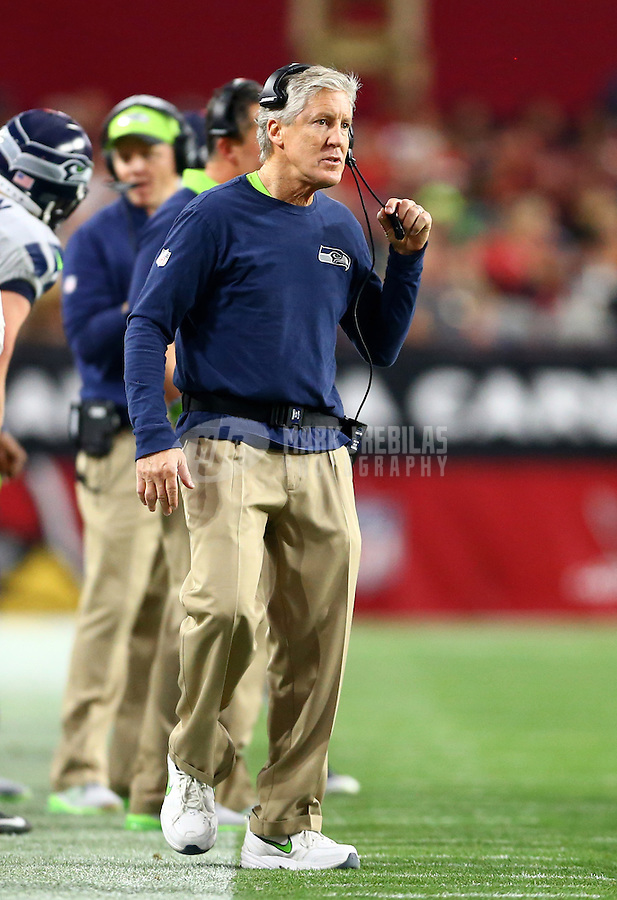 Jan 3, 2016; Glendale, AZ, USA; Seattle Seahawks head coach Pete Carroll against the Arizona Cardinals at University of Phoenix Stadium. Mandatory Credit: Mark J. Rebilas-USA TODAY Sports