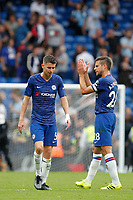 A frustrated Jorginho of Chelsea and César Azpilicueta during the Premier League match between Chelsea and Sheff United at Stamford Bridge, London, England on 31 August 2019. Photo by Carlton Myrie / PRiME Media Images.