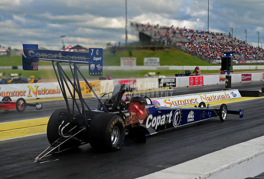 May 20, 2011; Topeka, KS, USA: NHRA top fuel dragster driver Brandon Bernstein during qualifying for the Summer Nationals at Heartland Park Topeka. Mandatory Credit: Mark J. Rebilas-