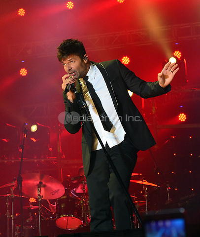 """CANARY ISLANDS, SPAIN - SEPTEMBER 9: Singer Ricky Martin is seen performing at the Estadio Gran Canaria, Canary Islands, Spain on September 9, 2016. Martin offers two concert in his """"World Tour"""" program, as part of his European tour. Credit: Jorge Rey/MediaPunch"""