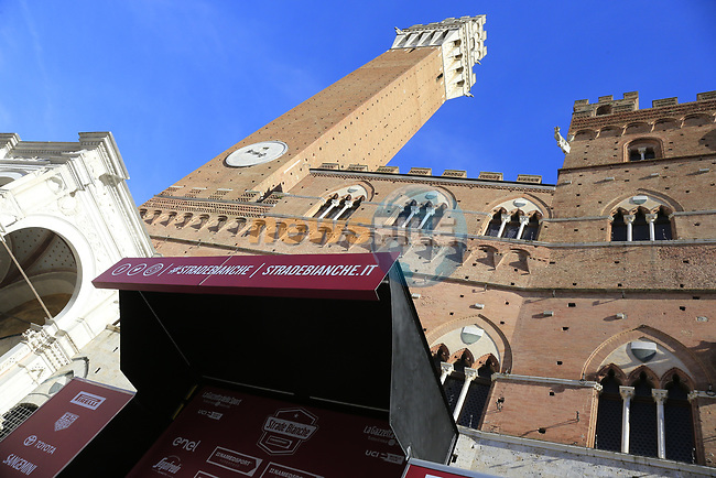 Piazza Del Campo finish of Strade Bianche 2019 running 184km from Siena to Siena, held over the white gravel roads of Tuscany, Italy. 9th March 2019.<br /> Picture: Eoin Clarke | Cyclefile<br /> <br /> <br /> All photos usage must carry mandatory copyright credit (© Cyclefile | Eoin Clarke)
