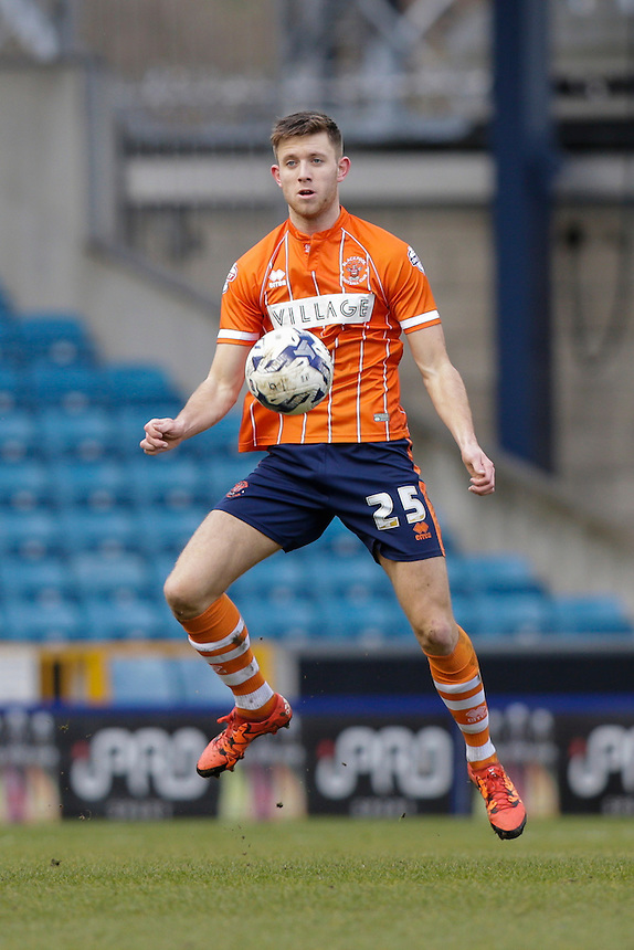 Blackpool's Will Aimson in action during todays match  <br /> <br /> Photographer Craig Mercer/CameraSport<br /> <br /> Football - The Football League Sky Bet League One - Millwall v Blackpool - Saturday 5th March 2016 - The Den - Millwall<br /> <br /> &copy; CameraSport - 43 Linden Ave. Countesthorpe. Leicester. England. LE8 5PG - Tel: +44 (0) 116 277 4147 - admin@camerasport.com - www.camerasport.com