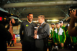 12 MAR 2016:  Head coach Robert Johnson, of the University of Oregon, talks with ESPN's John Anderson as they accept the NCAA Division I Indoor Track and Filed Championship Trophy during the 2016 Indoor Track & Field Championship held at the Birmingham Crossplex in Birmingham, Al. Tom Ewart/NCAA Photos
