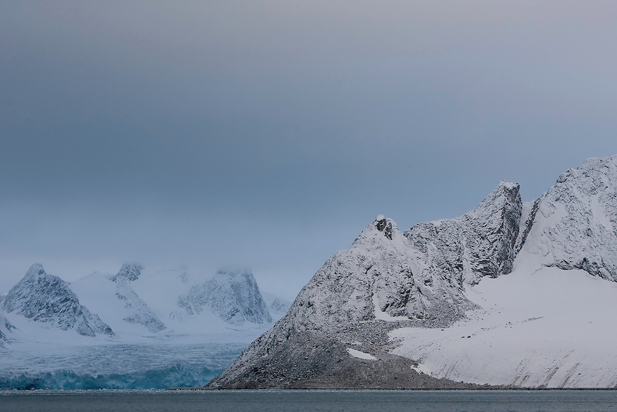 Rugged mountainscape, Svalbard, Norway.