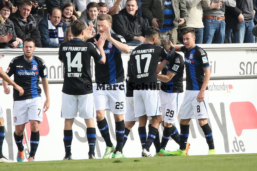 Torjubel FSV beim Tor von Zlatko Dedic (FSV) zum 1:0 - FSV Frankfurt vs. SV Darmstadt 98, Frankfurter Volksbank Stadion