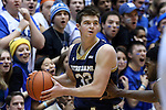 07 February 2015: Notre Dame's Steve Vasturia. The Duke University Blue Devils hosted the University of Notre Dame Fighting Irish at Cameron Indoor Stadium in Durham, North Carolina in a 2014-16 NCAA Men's Basketball Division I game. Duke won the game 90-60.