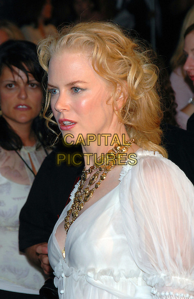 "NICOLE KIDMAN.The premiere of the new film, ""Bewitched"" at the Ziegfeld Theater in Manhattan, New York, New York..June 13th, 2005.Photo Credit: Patti Ouderkirk/AdMedia.headshot portrait necklace chunky gold jewellery white.www.capitalpictures.com.sales@capitalpictures.com.© Capital Pictures."