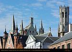 Medieval Towers of Town Hall Stadhuis, Landhuis van het Brugse Vrije Mansion of Bruges, and Belfort Bell Tower, Bruges, Brugge, Belgium
