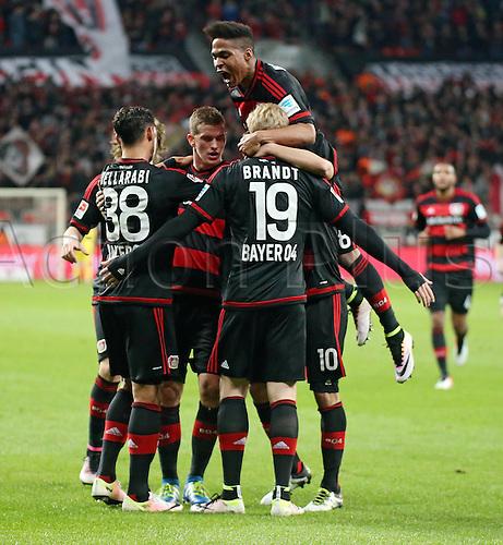 01.04.2016. Leverkusen, Germay. Bundesliga football. Bayer Leverkusen versus VFL Wolfsburg in the BayArena in Leverkusen.  Celebrations for the goal for 1-0 from Julian Brandt (Bayer 04 Leverkusen)