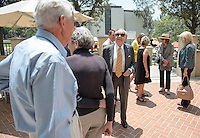 Family and friends gather to dedicate the newest wing of one of Occidental College's main academic buildings named Hinchliffe Hall to honor half a century of service and support from the family of Steve '55 and Ann (Hoffmann) '57 Hinchliffe. June 6, 2016.<br /> (Photo by Marc Campos, Occidental College Photographer)