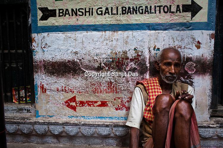 An old man in the ancient city of Varanasi in Uttar Pradesh, India. Photograph: Sanjit Das/Panos