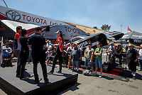 Jul. 26, 2013; Sonoma, CA, USA: NHRA Toyota team funny car drivers being interviewed in the Toyota display during qualifying for the Sonoma Nationals at Sonoma Raceway. Mandatory Credit: Mark J. Rebilas-