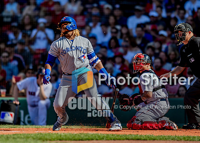 22 June 2019: Toronto Blue Jays third baseman Vladimir Guerrero Jr. watches the trajectory of the ball after contact during the first inning against the Boston Red Sox at Fenway :Park in Boston, MA. The Blue Jays rallied to defeat the Red Sox 8-7 in the 2nd game of their 3-game series. Mandatory Credit: Ed Wolfstein Photo *** RAW (NEF) Image File Available ***