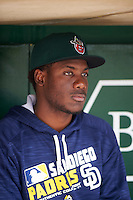 Fort Wayne TinCaps pitcher Enyel De Los Santos (21) in the dugout before the second game of a doubleheader against the Great Lakes Loons on May 11, 2016 at Parkview Field in Fort Wayne, Indiana.  Great Lakes defeated Fort Wayne 5-0.  (Mike Janes/Four Seam Images)