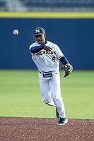 Michigan Wolverines second baseman Ako Thomas (4) makes a throw to first base against the San Jose State Spartans on March 27, 2019 in Game 2 of the NCAA baseball doubleheader at Ray Fisher Stadium in Ann Arbor, Michigan. Michigan defeated San Jose State 3-0. (Andrew Woolley/Four Seam Images)