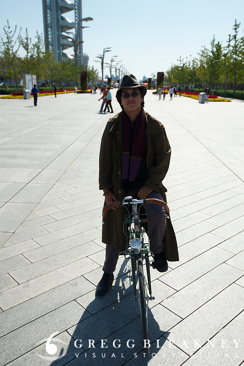 A tweed rider and his trendy retro steed in Olympic Park. 2011 Tour of Beijing
