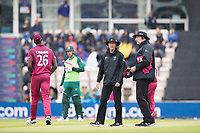 As conditions deteriorate umpires Rod Tucker and Paul Wilson take the teams from the field during South Africa vs West Indies, ICC World Cup Cricket at the Hampshire Bowl on 10th June 2019