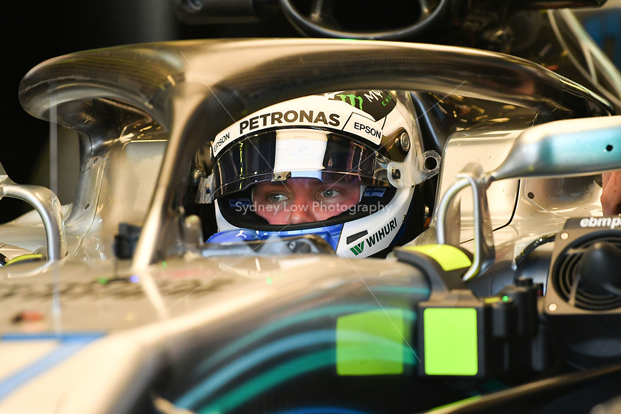 March 23, 2018: Valtteri Bottas (FIN) #77 from the Mercedes AMG Petronas Motorsport team sits in his car during practice session two at the 2018 Australian Formula One Grand Prix at Albert Park, Melbourne, Australia. Photo Sydney Low