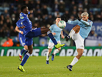 Manchester City's Sergio Aguero competing with Leicester City's Wilfred Ndidi<br /> <br /> Photographer Andrew Kearns/CameraSport<br /> <br /> English League Cup - Carabao Cup Quarter Final - Leicester City v Manchester City - Tuesday 18th December 2018 - King Power Stadium - Leicester<br />  <br /> World Copyright &copy; 2018 CameraSport. All rights reserved. 43 Linden Ave. Countesthorpe. Leicester. England. LE8 5PG - Tel: +44 (0) 116 277 4147 - admin@camerasport.com - www.camerasport.com