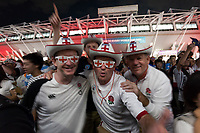 Rugby fans celebrating outside the Ajinomoto Stadium in Chofu, Tokyo. Saturday October 5th 2019. England qualified for the quarter-finals of the tournament with 39-10 win against Argentina