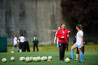 Seattle, WA - Sunday, May 22, 2016: Chicago Red Stars head coach Rory Dames during pregame warmups prior to a regular season National Women's Soccer League (NWSL) match at Memorial Stadium. Chicago Red Stars won 2-1.